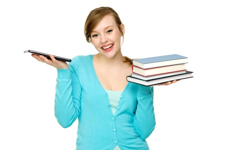 Female student with books and digital tablet photo