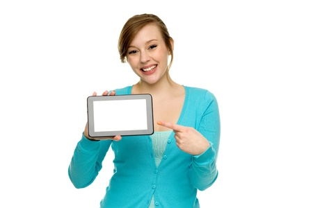 Woman pointing at digital tablet photo