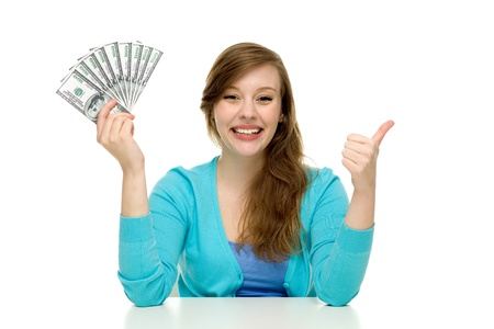 cash desk: Woman holding money and showing thumbs up