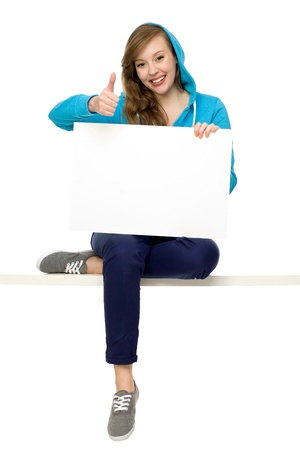 Woman holding blank paper photo