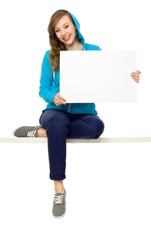 Female teenager with blank poster photo