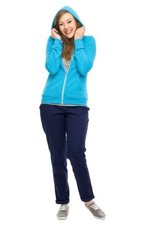 hooded top: Female teenager wearing hooded top