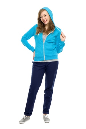 hooded top: Young woman wearing hooded top