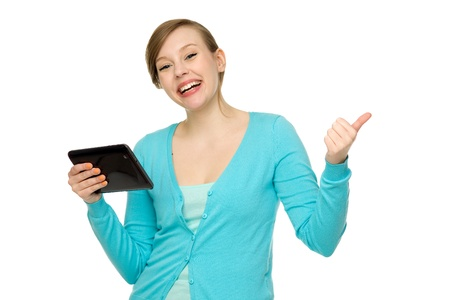 Woman with digital tablet and thumbs up Stock Photo - 13682412
