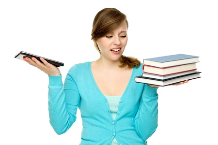 ebook: Woman holding digital tablet and books  Stock Photo