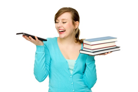 Woman holding digital tablet and books  photo