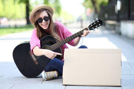 woman guitar: Guitar player Stock Photo