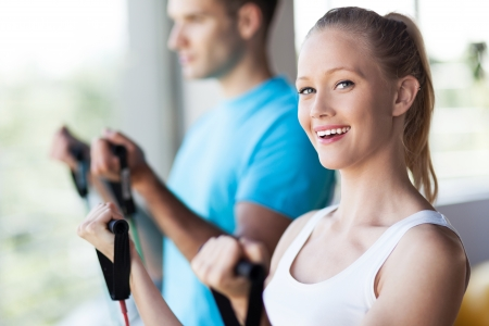 fitness couple: Couple at the gym