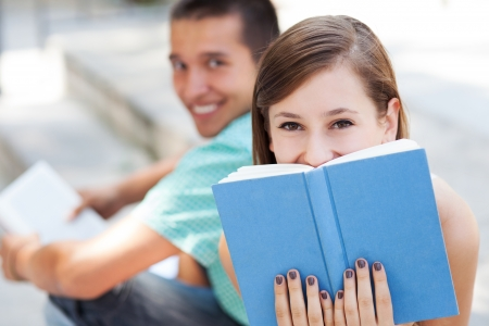 Young people reading books photo