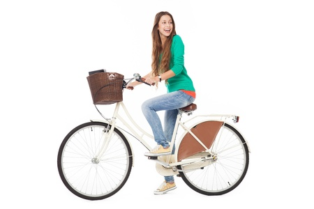 beautiful teen girl: Woman biking