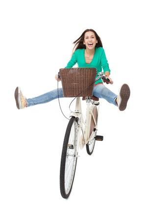 ciclista: Mujer que monta una bicicleta