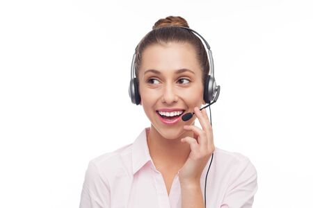 Woman wearing headset Stock Photo - 15940152