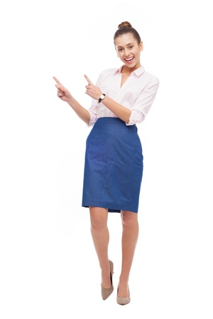 full body shot: Businesswoman pointing up