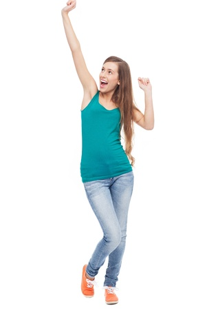 woman mouth open: Happy woman with arms raised
