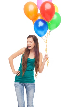 Woman holding a bunch of balloons photo