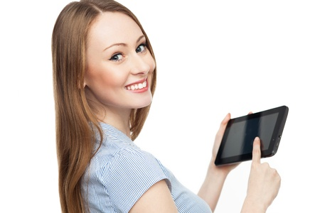 pointing device: Young woman holding digital tablet