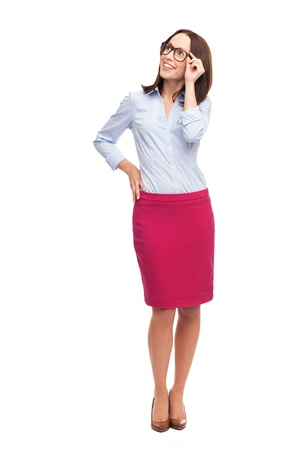 business woman standing: Businesswoman looking up