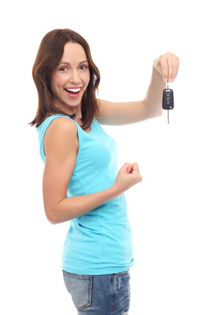 Smiling woman holding car key Stock Photo - 16741398