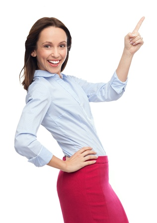 woman pointing up: Business woman pointing up