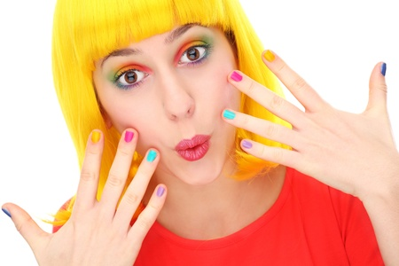 Woman with brightly colored nails photo