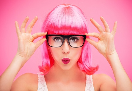 hairpiece: Woman with pink wig and glasses