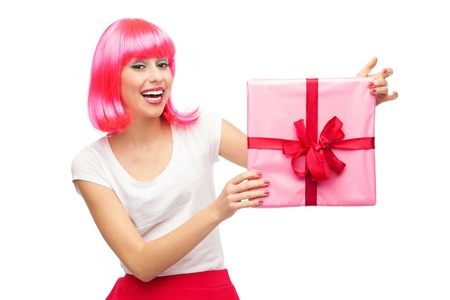 hairpiece: Happy woman holding gift Stock Photo
