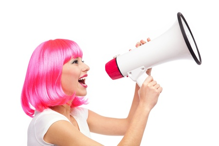 hairpiece: Woman shouting through megaphone Stock Photo