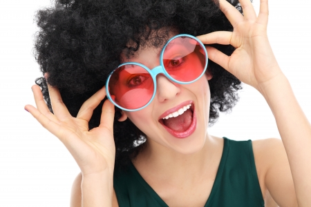 hairpiece:  Young woman wearing afro wig Stock Photo