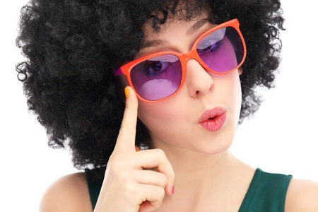 kitsch: Woman with afro and glasses Stock Photo