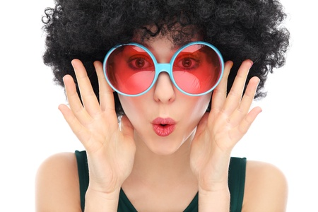 sunglasses: Mujer con afro y gafas de sol negro Foto de archivo