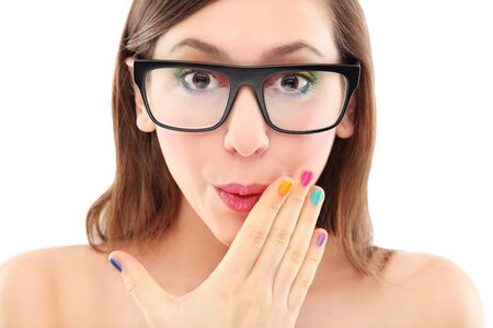 Surprised woman wearing glasses photo