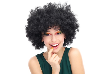 hairpiece: Beautiful woman with afro