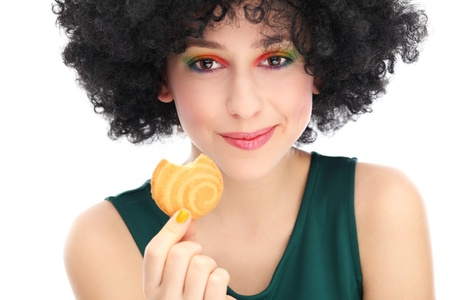 hairpiece: Funky woman eating cookie