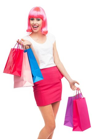 Happy young woman with shopping bags Stock Photo - 16985474
