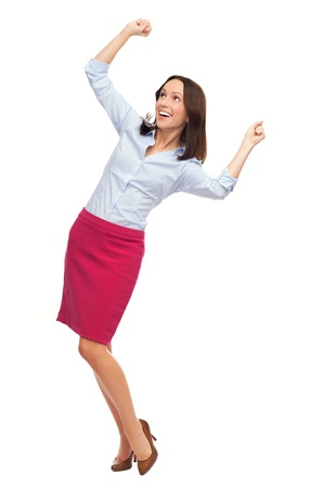 clenching fists: Business woman cheering