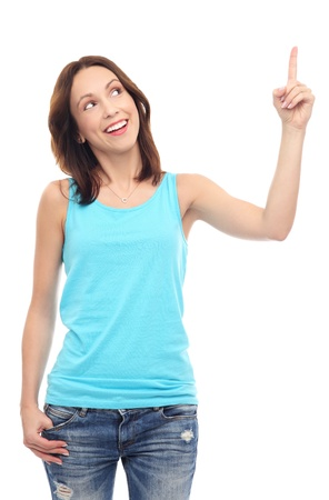 woman pointing up: Young woman pointing up  Stock Photo
