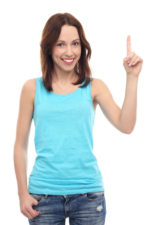 Young woman pointing up photo