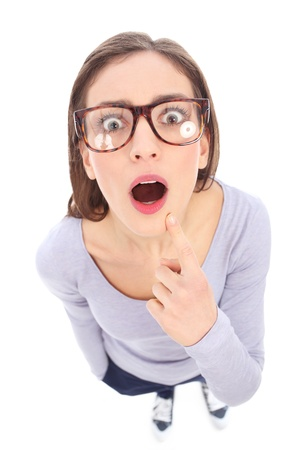 Surprised female nerd Stock Photo - 17135466