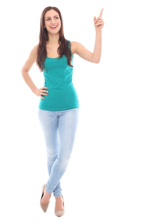 mujer cuerpo completo: Mujer joven apuntando hacia arriba Foto de archivo