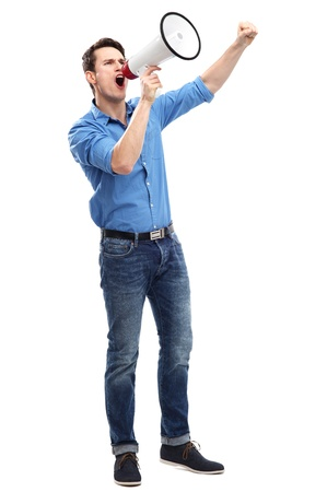 clenching fists: Man shouting through megaphone Stock Photo