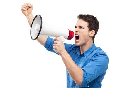 Man shouting through megaphone photo