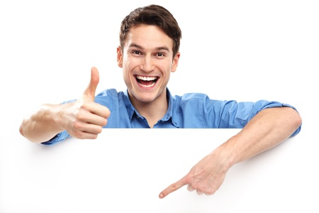 Man showing thumbs up with blank board photo