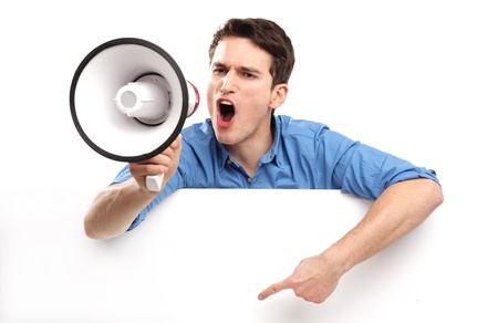 shouting: Guy with megaphone and white board Stock Photo