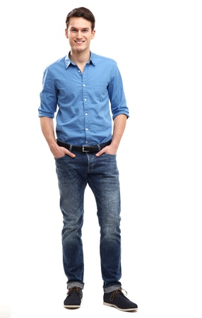 casual caucasian: Casual young man standing Stock Photo