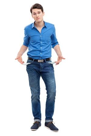 empty pocket: Man showing empty pockets