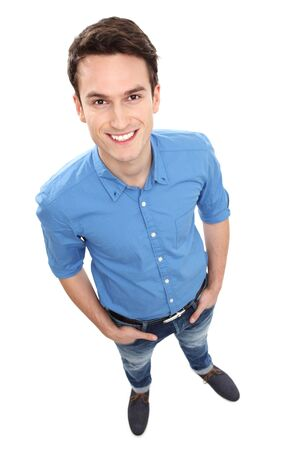 high angle shot: Casual young guy