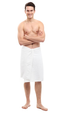Young man wearing towel photo