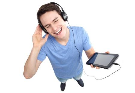 high angle shot: Young man enjoying music