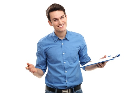 Young man holding clipboard photo