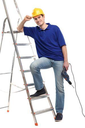 Construction worker with a ladder photo